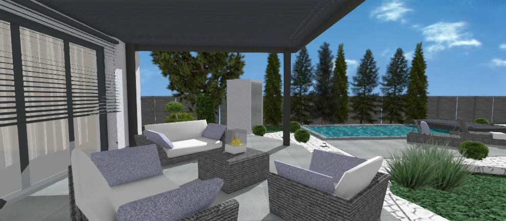 vonkajsie sedenie a bazen