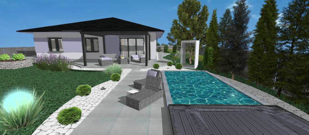 areal rodinneho domu s bazenom