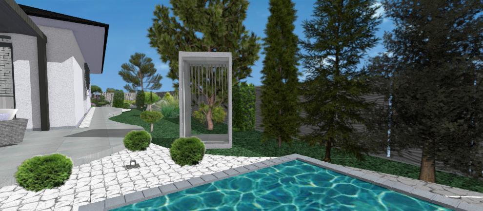 navrh bazena s vonkajsou sprchou