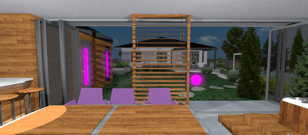 interier altanku s drevenym nabytkom a fialovymi stolickami