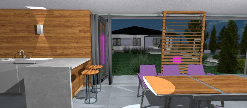 vizualizacia interieru altanku s drevenou stenou jkdeco
