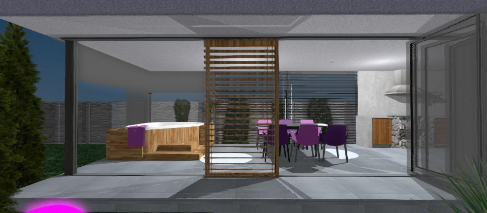 pohlad na otvoreny altanok s drevenou clonou, jakuzzi a fialovymi stolickami