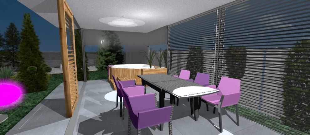 interier altanku s fialovymi stolickami a jakuzzi