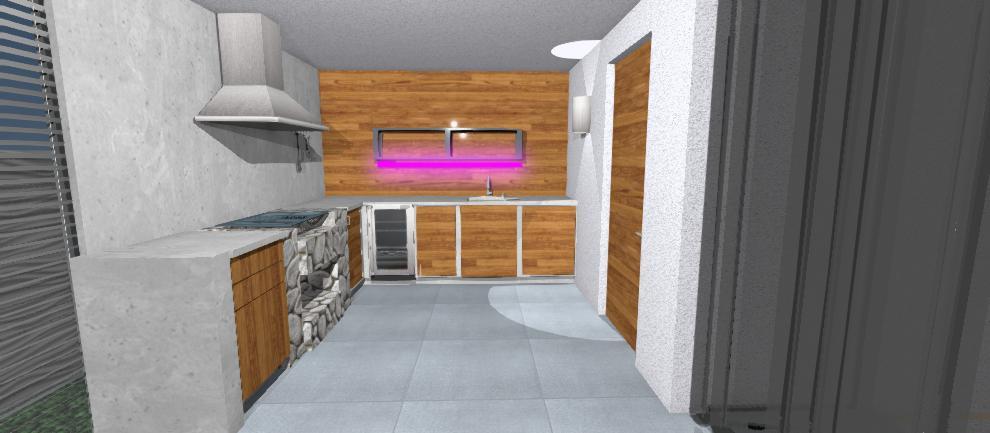navrh kuchyne v altanku s naladovym svetlom