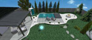 pohlad na bazen lemovany bielymi kamienkami jana kadlicova