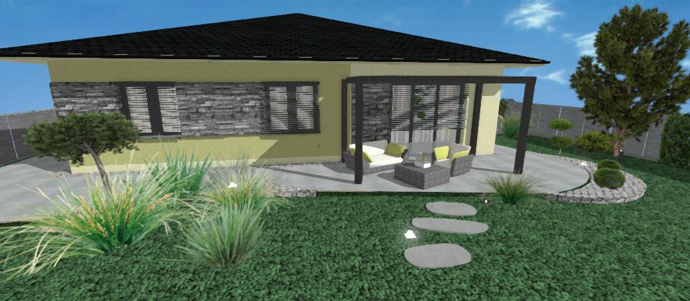 navrh zelenej fasady domu s kamenom