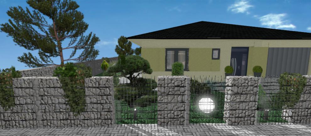 vizualizacia gambionoveho plutu rodinneho domu so zelenou fasadou