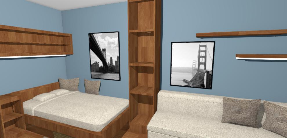 navrh chlapcenskej izby s modrymi stenami
