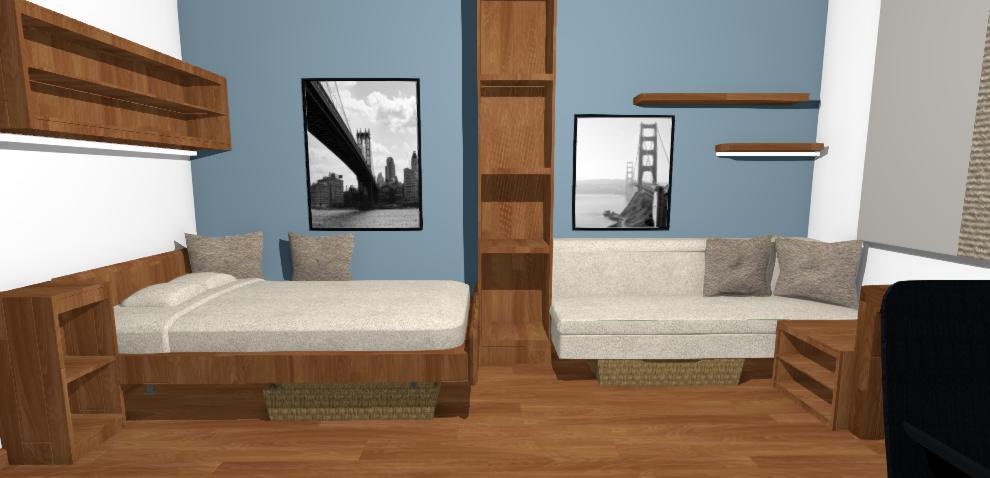 vizualizacia chlapcenskej izby s modrou stenou
