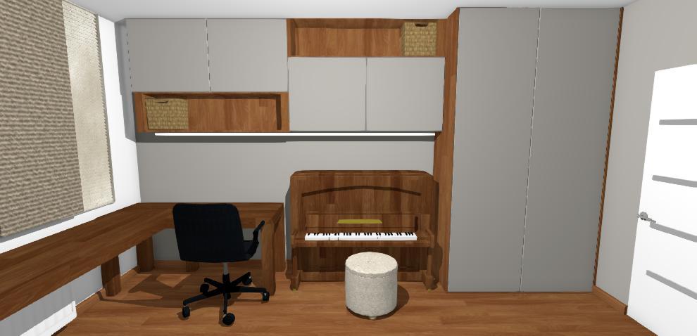 vizualizacia pracovneho kutika v chlapcenskej izbe s tmavou stenou
