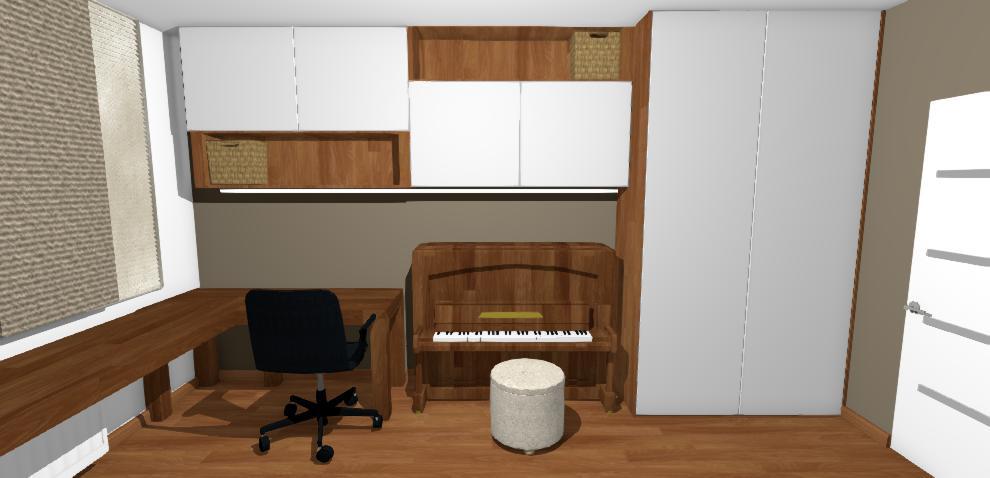 vizualizacia pracovneho kutika v chlapcenskej izbe s hnedou stenou