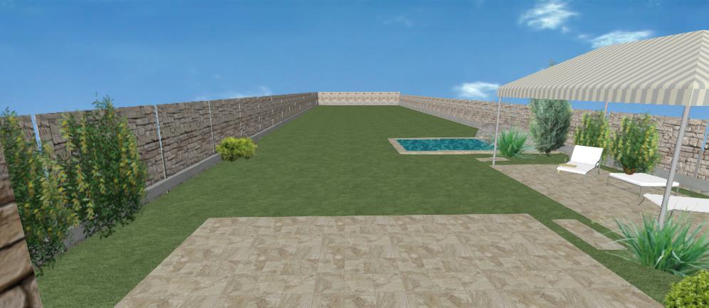 pozdlzna zahrada s bazenom