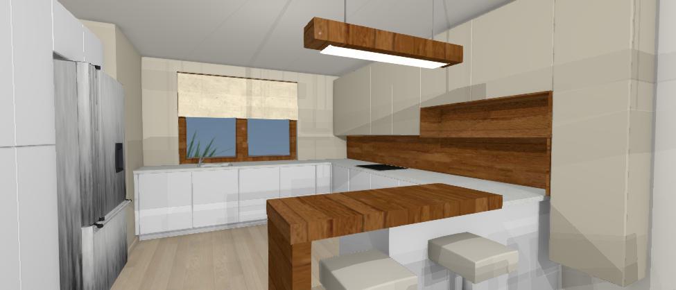 bleda kuchyna s cervenym drevom