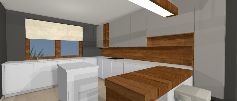 vizualizacia modernej sivej kuchyne s drevenym dekorom, jana kadlicova