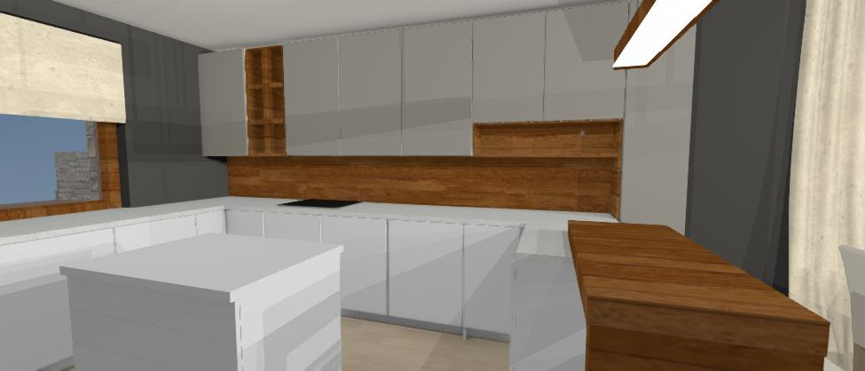 dizajn modernej sivej kuchyne s drevodekorom
