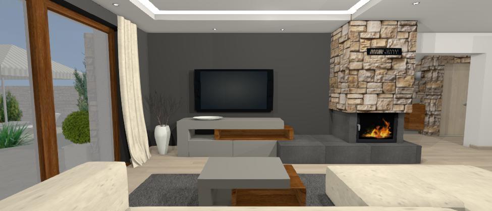 siva televizna stena s kamennym krbom