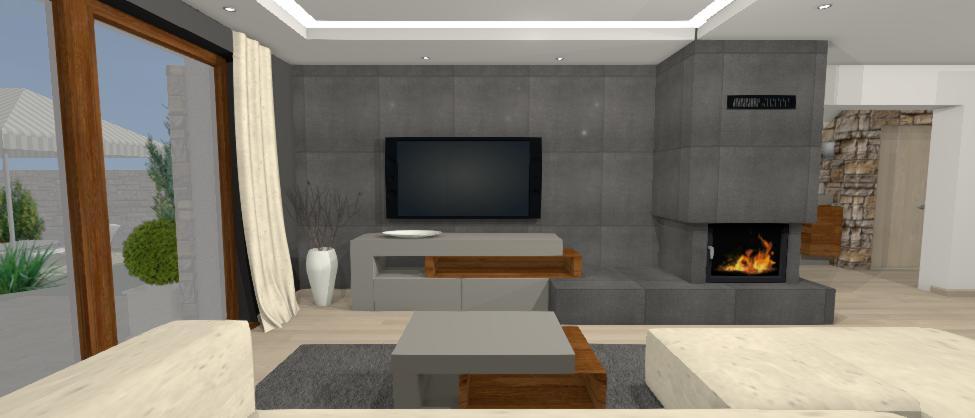 televizna stena s tmavosivym obkladom