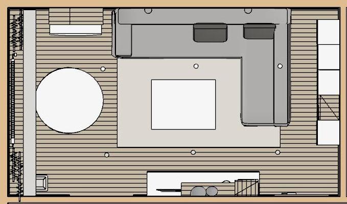 dispozicia obyvacky so zadnou uloznou stenou