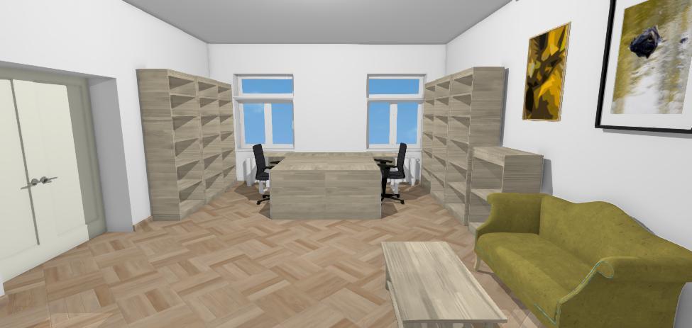 vizualiza so sivym nabytkom a zelenym sedenimcia zariadenia kancelarie