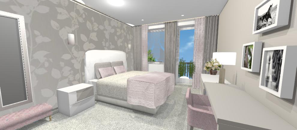 vizualizacia romantickej ruzovej spalne s hnedou tapetou