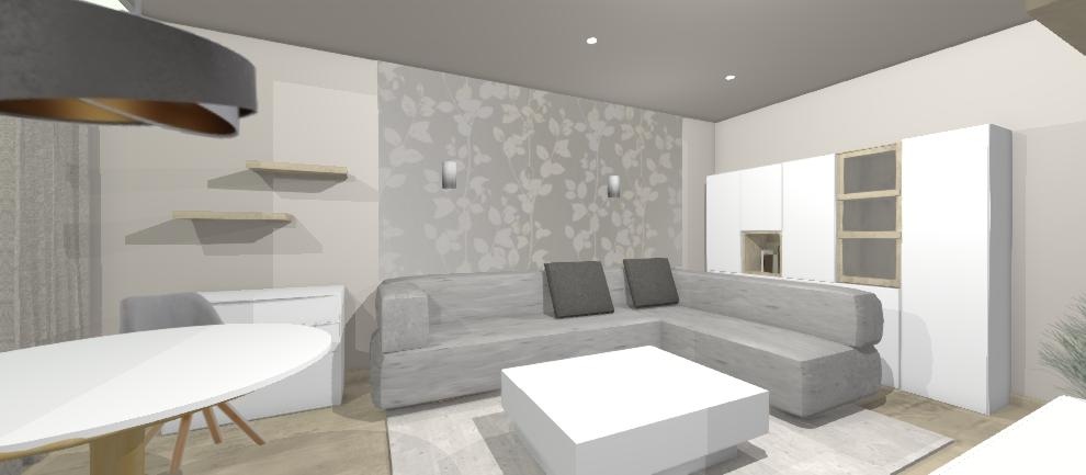 viarianta obyvacky s bielou uloznou stenou za sedenim