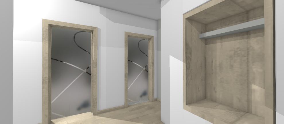 dizajnove presklene dvere v chodbe dvojizboveho bytu