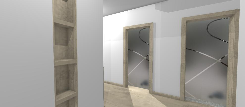 moderne sklenene dvere v chodbe bytu