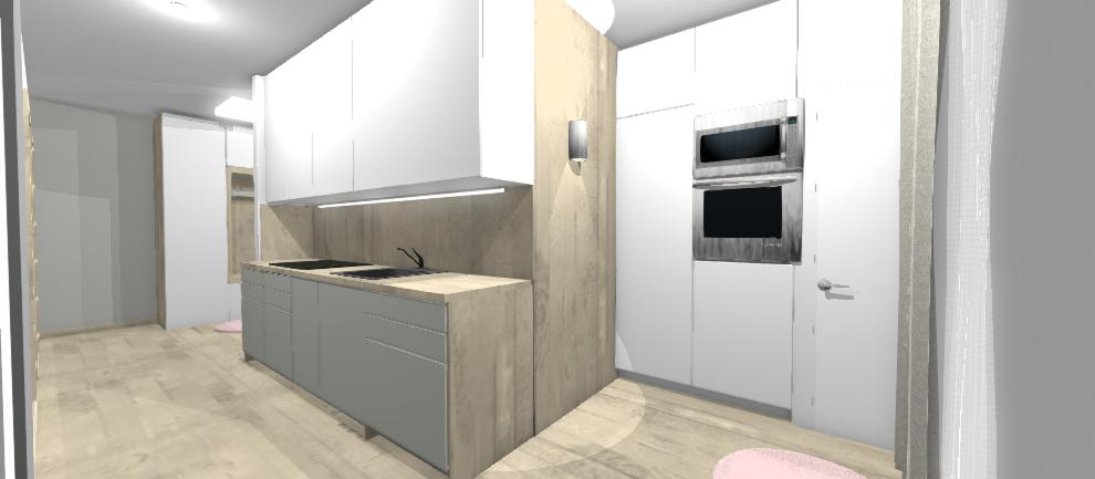 kuchyna s drevenou stenou a vysokymi skrinami