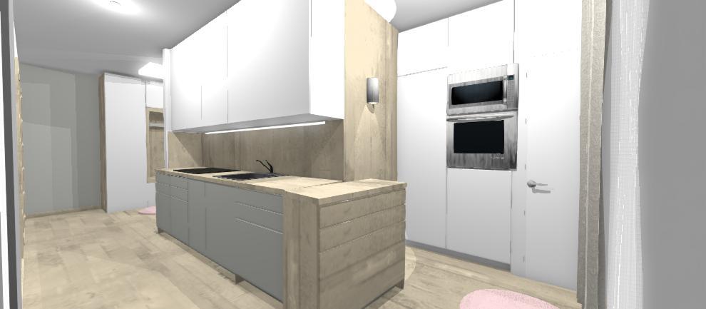 kuchyna v chodbicke s mobilnym ostrovom