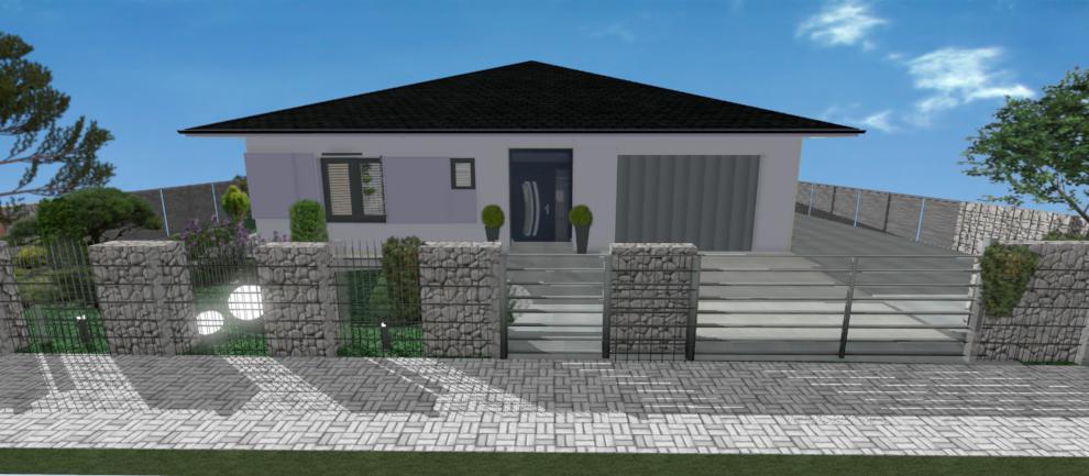 fialova fasada a gambionovy plot rodinneho domu