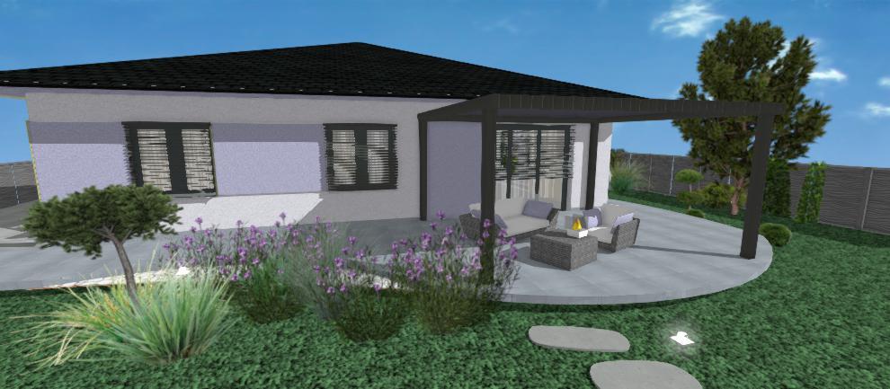 vizualizacia fialovej fasady rodinneho domu jkdeco