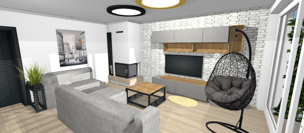 dizajn obyvacky s bielou tehlovou stenou
