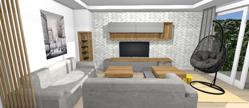 tehlova stena v obyvacke so zabudovanou vinotekou